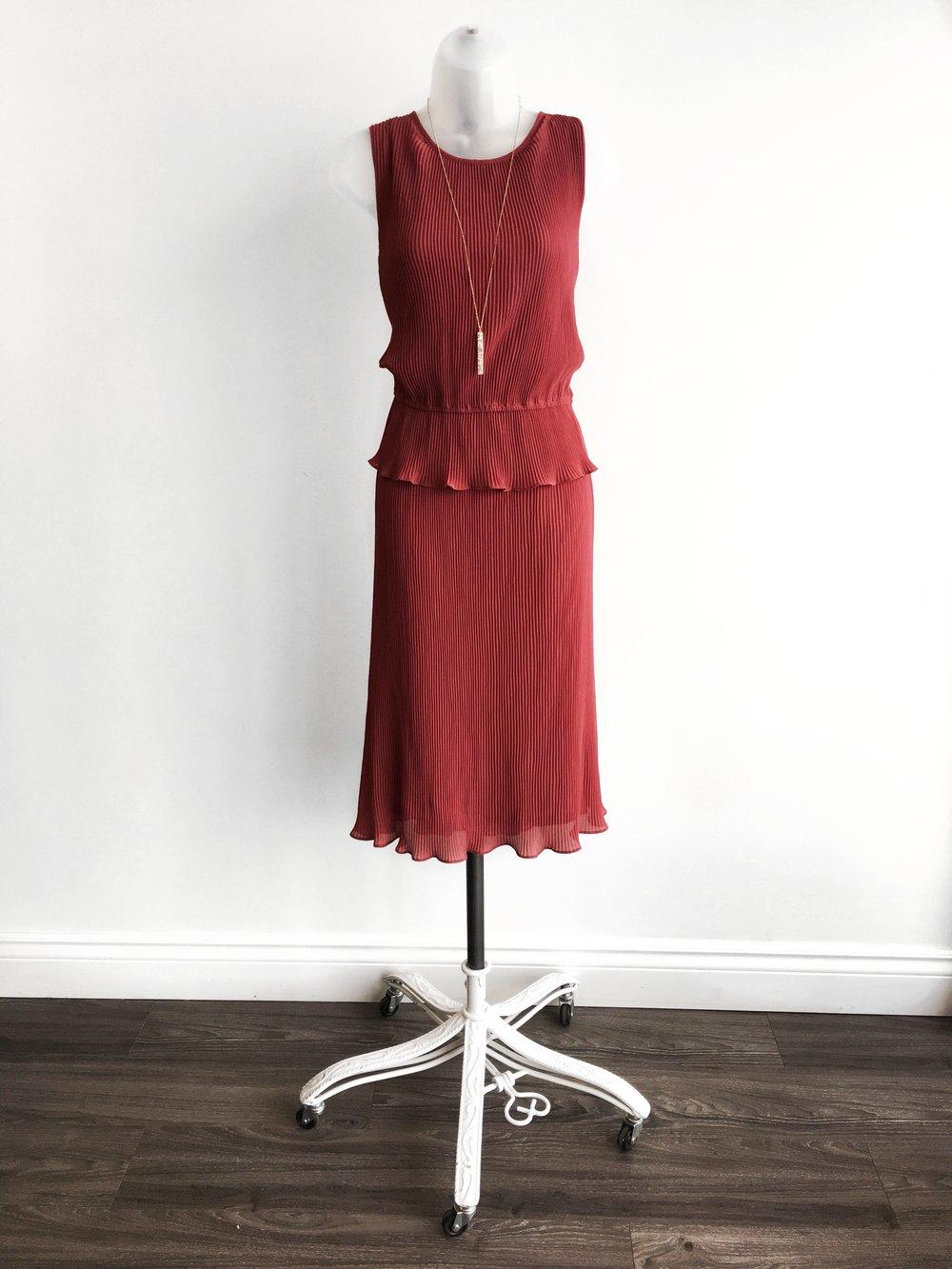 Pleated Ruffle Peplum Dress