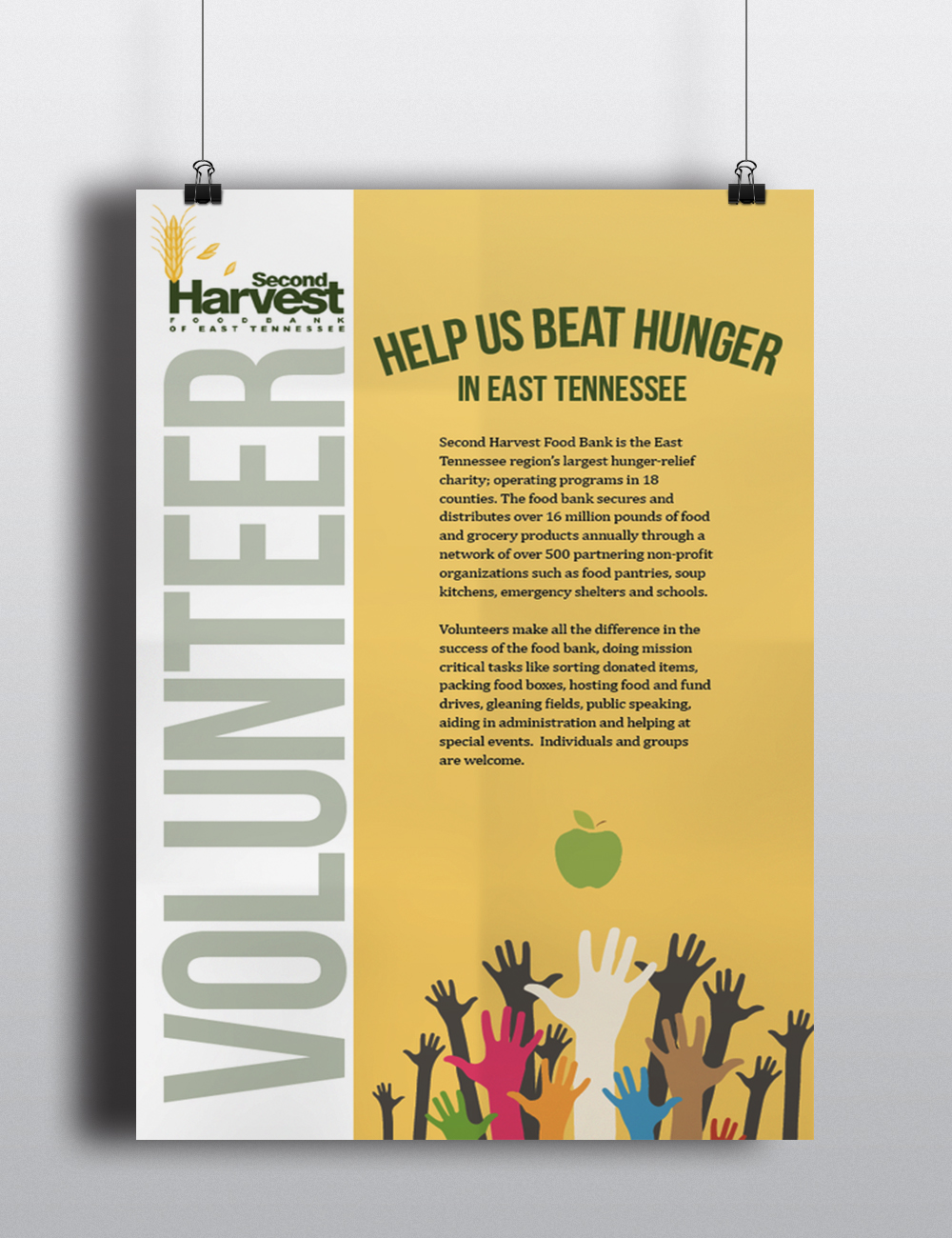 Volunteer for Second Harvest - Poster created in Adobe InDesign - class project