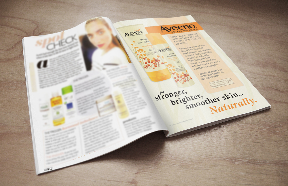 Illustrated Magazine Ad Aveeno - created with Adobe Illustrator and Adobe InDesign   - class project