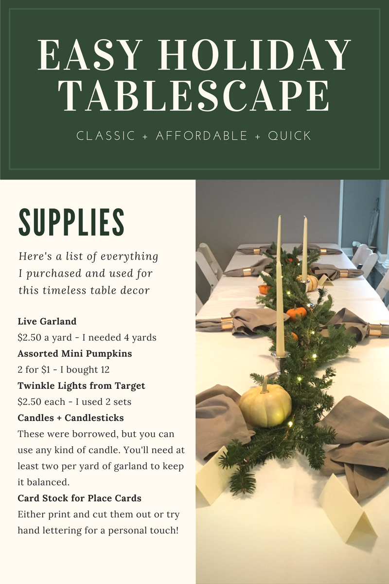 easy holiday table scape diy