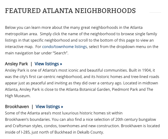 atlanta neighborhood home search