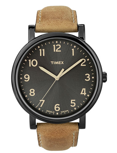 For Men: Timex 'Easy Reader' Leather Strap Watch