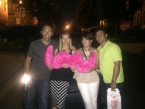 Josh's Atlanta passengers loved the 'stache so much, they wanted to pose with it in a photo.