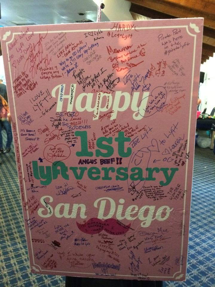 Drivers professed their love  for the #LyftSD community on this mustachioed sign. Congrats team, here's to many more!