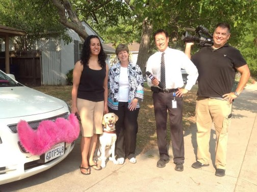 Christella, guide dog Priscilla and me (MomLyft) with Fox40 news crew.