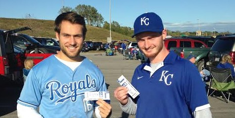Kansas City passenger winner Alex P. (on the right) at the game with a friend.