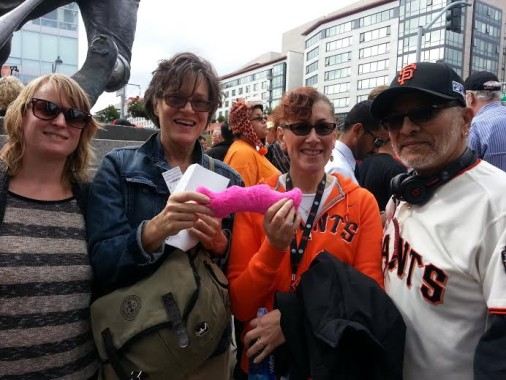 Passenger winner Mary K. enjoys Game 3 in San Francisco with driver winner David M.