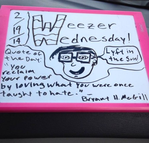 Even a small whiteboard and some dry erase markers can create a world of fun in someone's Lyft ride.