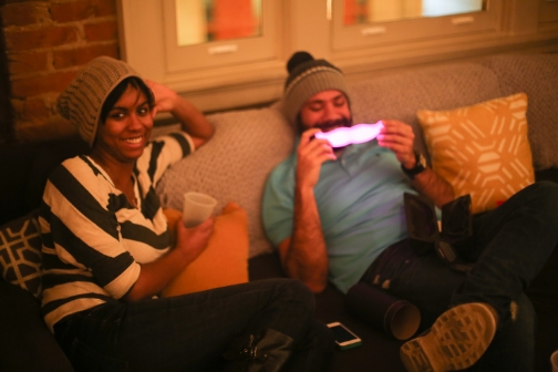 Our East Coast community kept warm in the pink light of the Glowstache at Loft 600 in D.C.