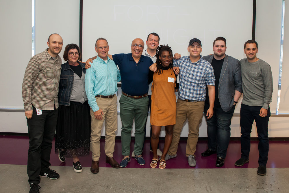 2018 National DAC members Dianne (Los Angeles), Tim (Pittsburgh), Siamak (Austin), Roma (Seattle), Phedeline (New York City), Jose (Chicago), and Bobby (Nashville) with Lyft co-founders John and Logan