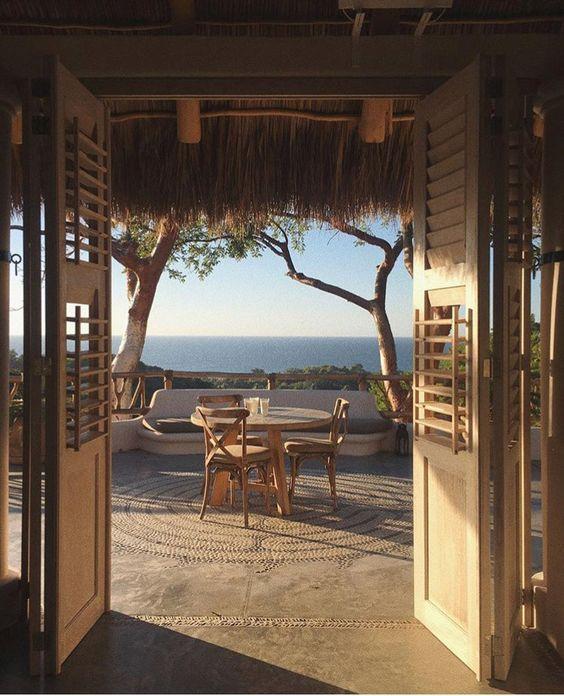 seaside patio dining