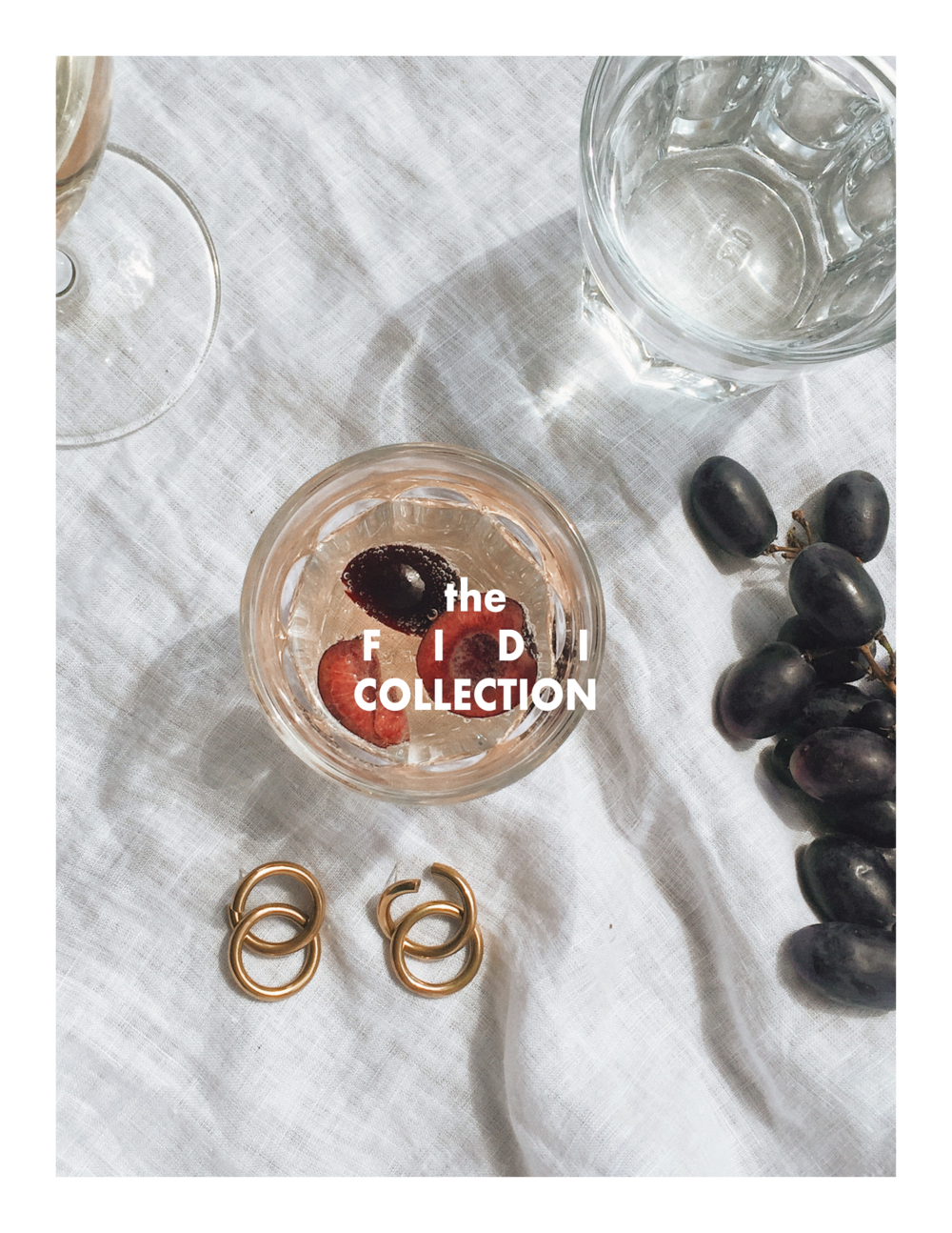Handmade gold double hoop earrings with wine glass and cherries