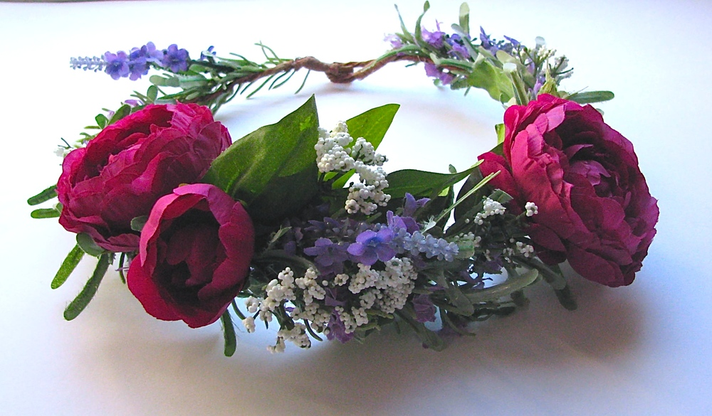 "Floral Crown - ""Red-Violet Romance"""
