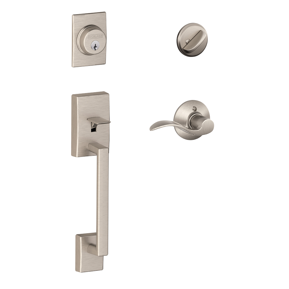 Schlage Century Single Cylinder Handleset and Accent Lever Satin Nickel (FE285 CEN 619 LAT.png