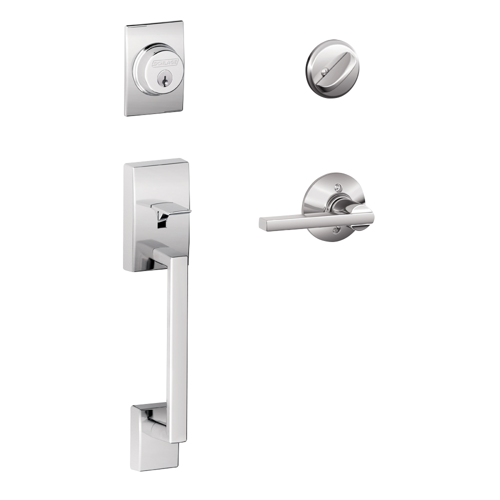 Schlage Century Single Cylinder Handleset and Latitude Lever Bright Chrome (F60 CEN 625 LAT.png