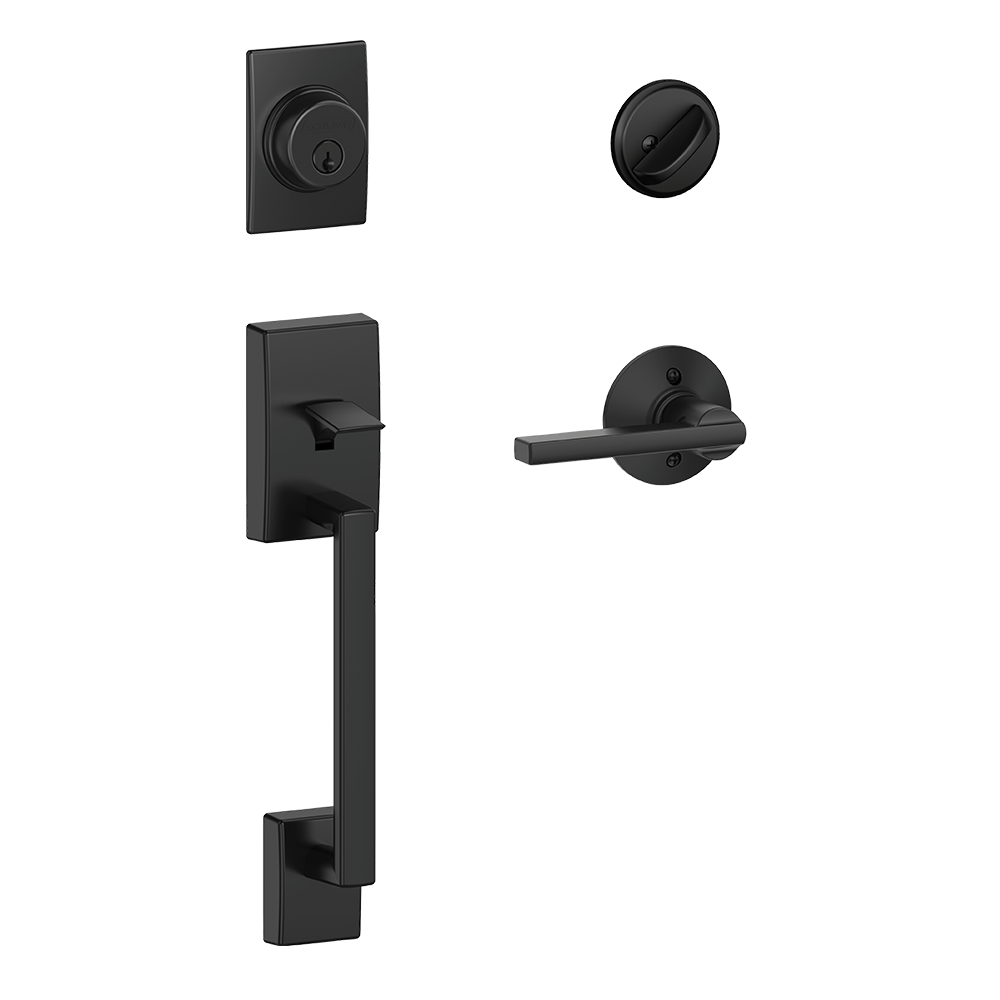 Schlage Century Single Cylinder Handleset and Latitude Lever Matte Black (F60 CEN 622 LAT.png