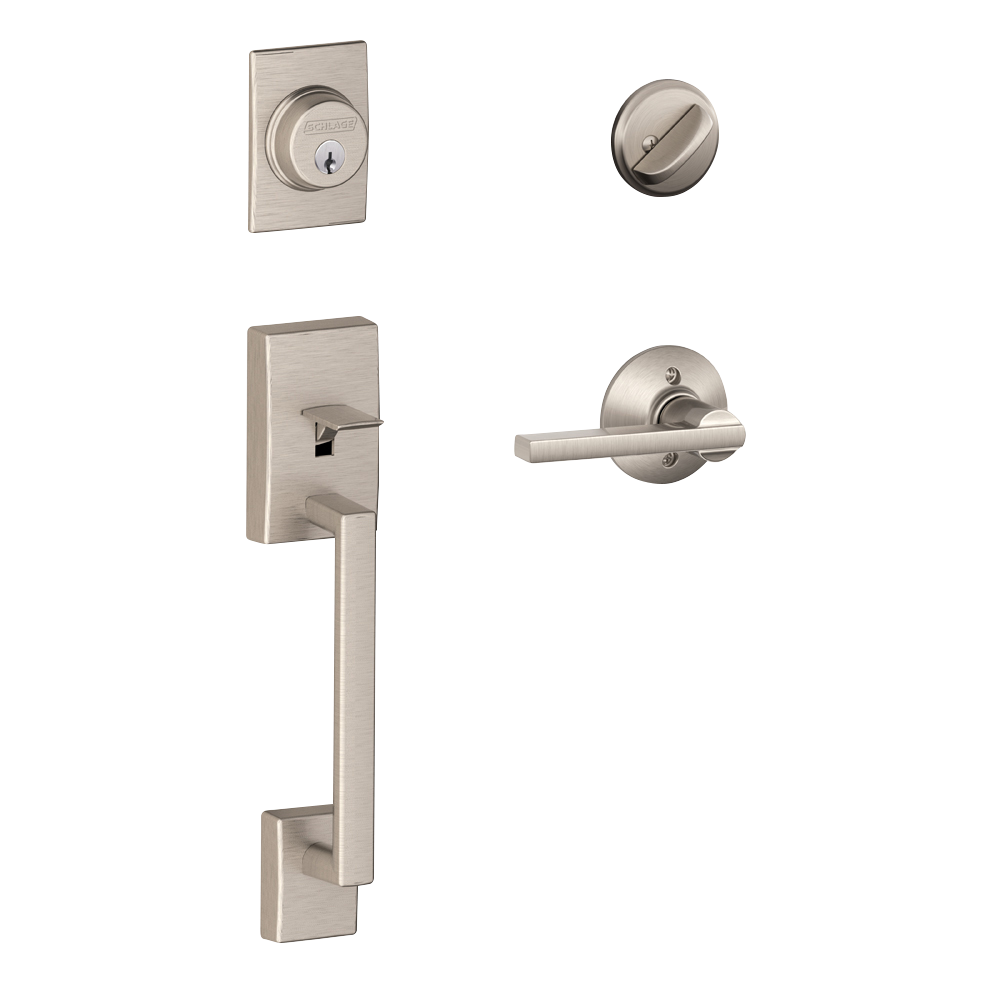 Schlage Century Single Cylinder Handleset and Latitude Lever Satin Nickel (F60 CEN 619 LAT.png
