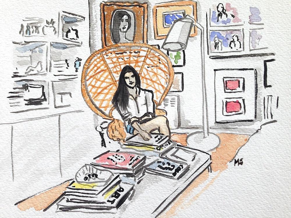 Ximena Tannenbaum en su departamento,