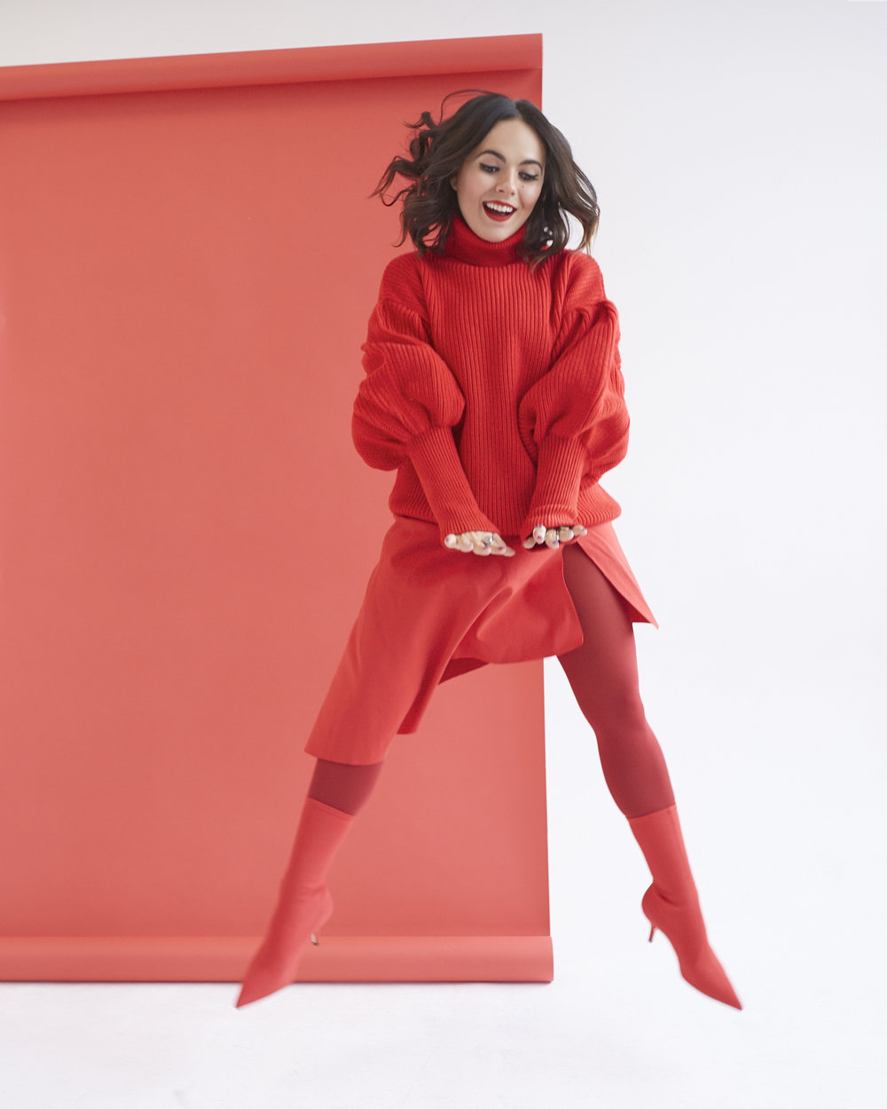 1. Match it: head-to-toe color - HUE Opaque Tight in Deep Red