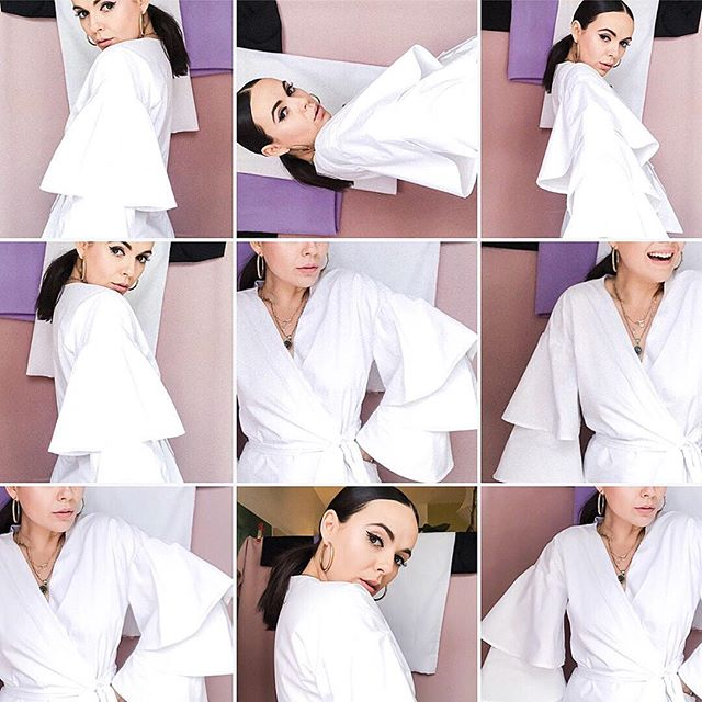 When in doubt, wear white and pull your hair back 💥💜 Happy Monday my dear family!!! -dear✨ #newfeed #selfphotography