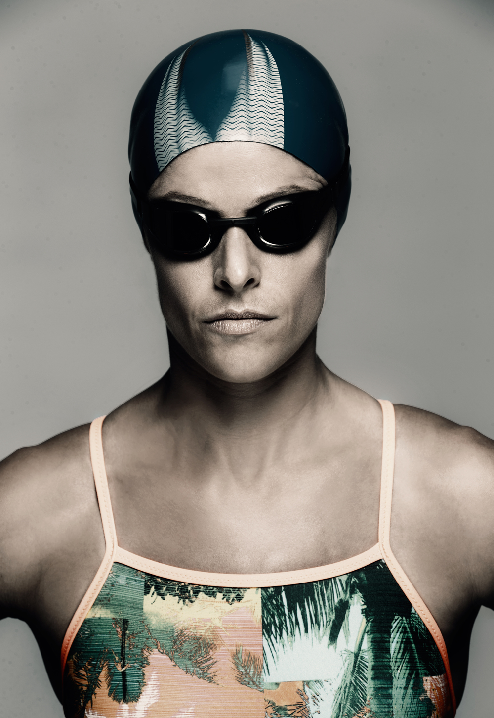 "Axis CrossFit Owner Brittany Marsh giving her best Speedo ""serious"" swimming look."