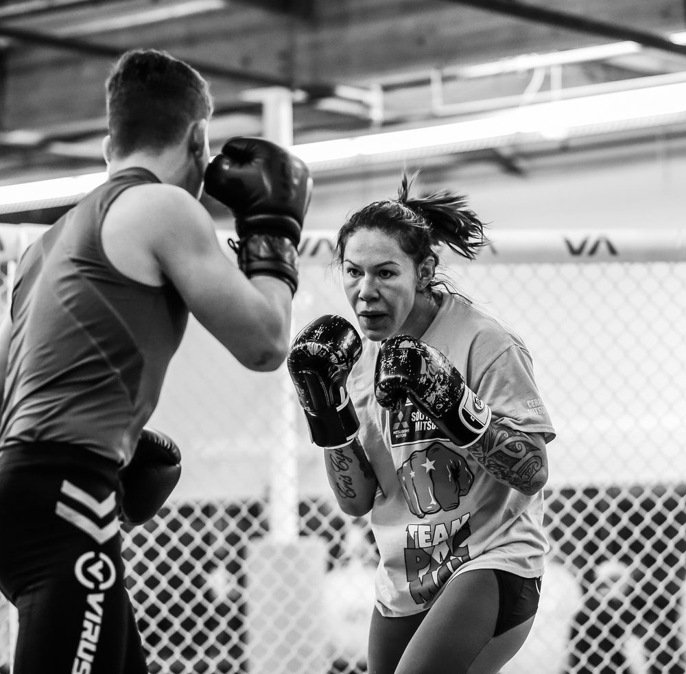 Cris Cyborg sparring with Magic. These two really go at it. So much fun to watch!