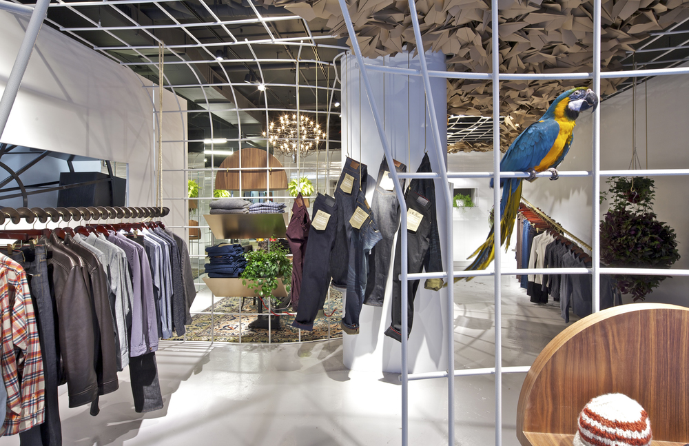 Raleigh Denim   New York, NY   Architect:  OMA  Patrick Hobgood,  Project Architect    Program:   1,000sf (100m2) retail space located in the Soho neighborhood of New York City.  A flexible hanging system was used to create distinct spaces within the existing volume: changing/fitting rooms, parlour room, display area, window/entry, foyer space, and storage.      Client:   Raleigh Denim Workshop