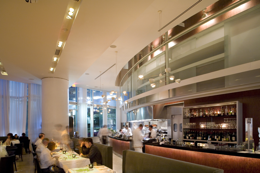 Trois Restaurant   Atlanta, Georgia   Architect:  HA    Program:   Located in mid-town Atlanta, this 14,400 sf (1440m2) restaurant occupied 3 floors at the base of a highrise tower.  The program included public and private dining rooms and an open kitchen/bar.      Client:   Concentrics Hospitality