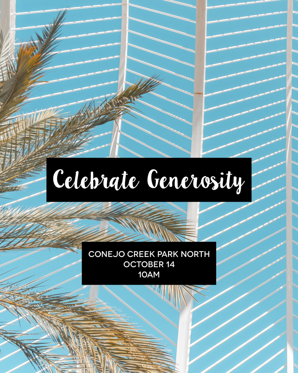 Celebrate Generosity - Each year, we celebrate our anniversary by taking every penny that comes in that week and giving it away. On October 14, the entire Anthem family of churches will gather together to worship Jesus and celebrate!Location: Conejo Creek Park NorthDay: Oct 14Time: 10am