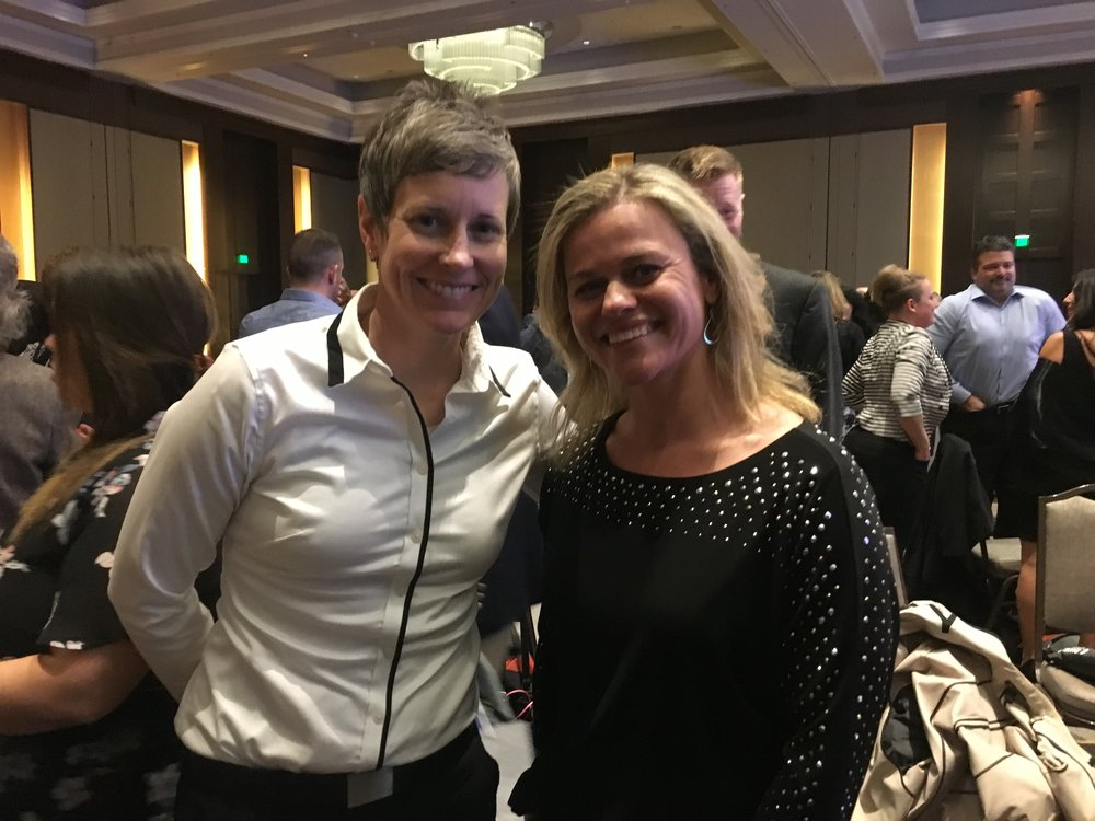 2017 NWD Elementary PE Teacher of the Year, Jenna White from Orion Elementary in Anchorage, and 2018 NWD High School Health Teacher of the Year, Shasta Smith from Sitka High School. (Photo taken at the Hall of Fame Banquet, at SHAPE America Convention in Nashville, TN. March 2018)