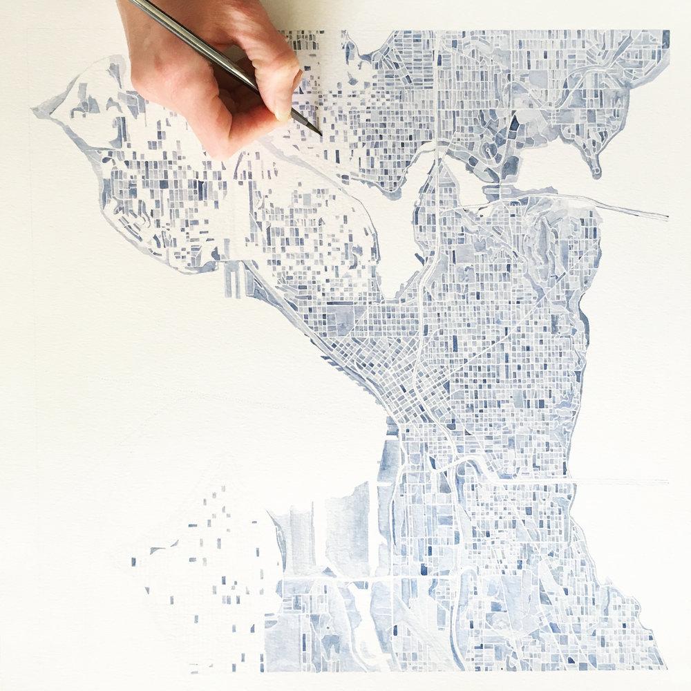 Seattle Watercolor City Blocks Map Original Painting Commission
