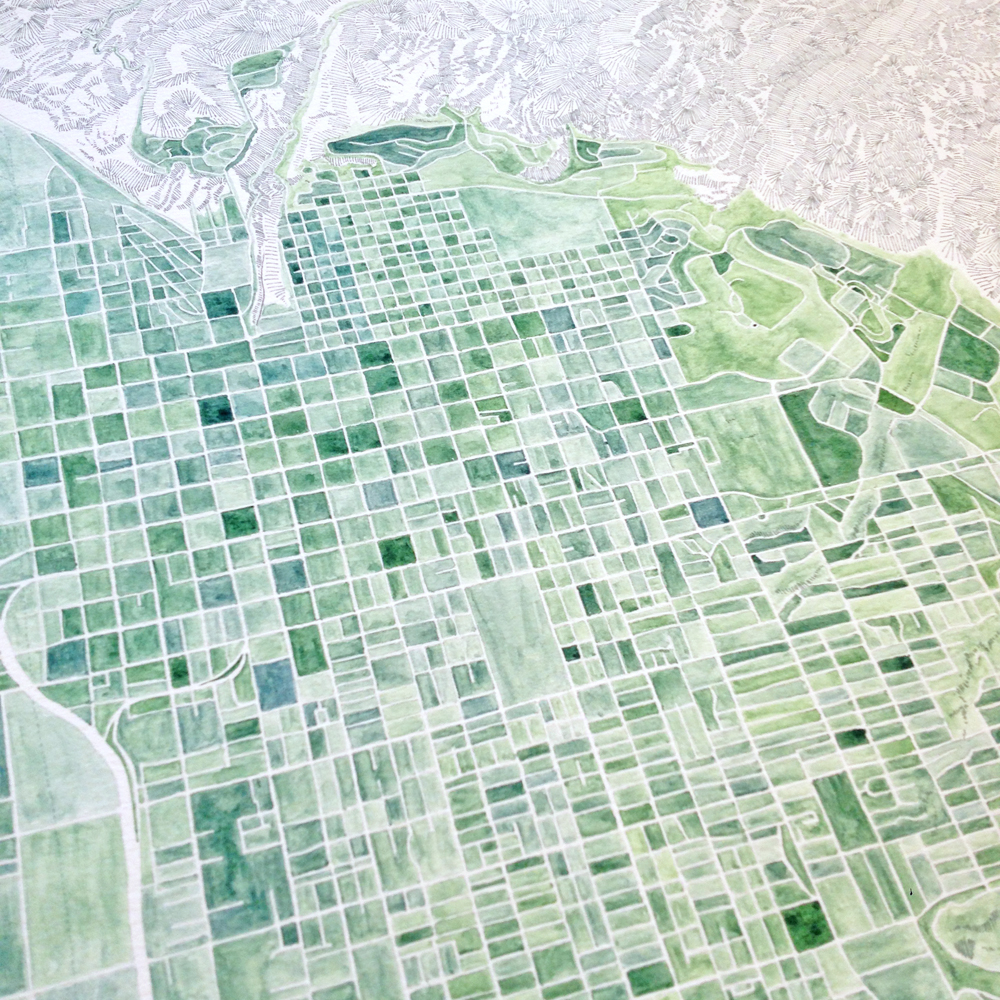 SALT LAKE CITY Watercolor City Blocks Map: ORIGINAL PAINTING (Commission) —  Turn-of-the-Centuries