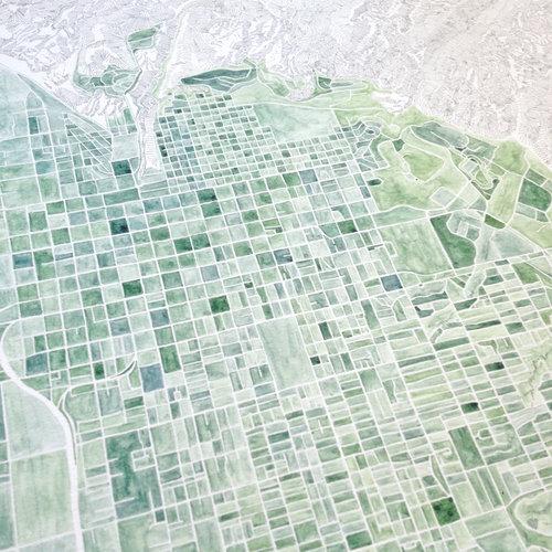 SALT LAKE CITY Watercolor City Blocks Map: ORIGINAL PAINTING ...