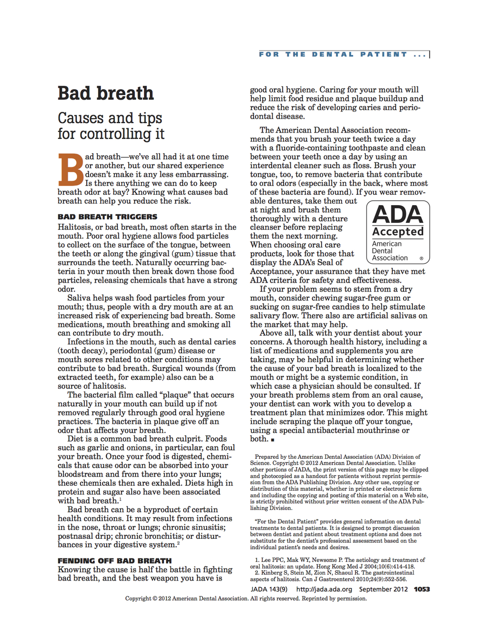 Bad Breath Management