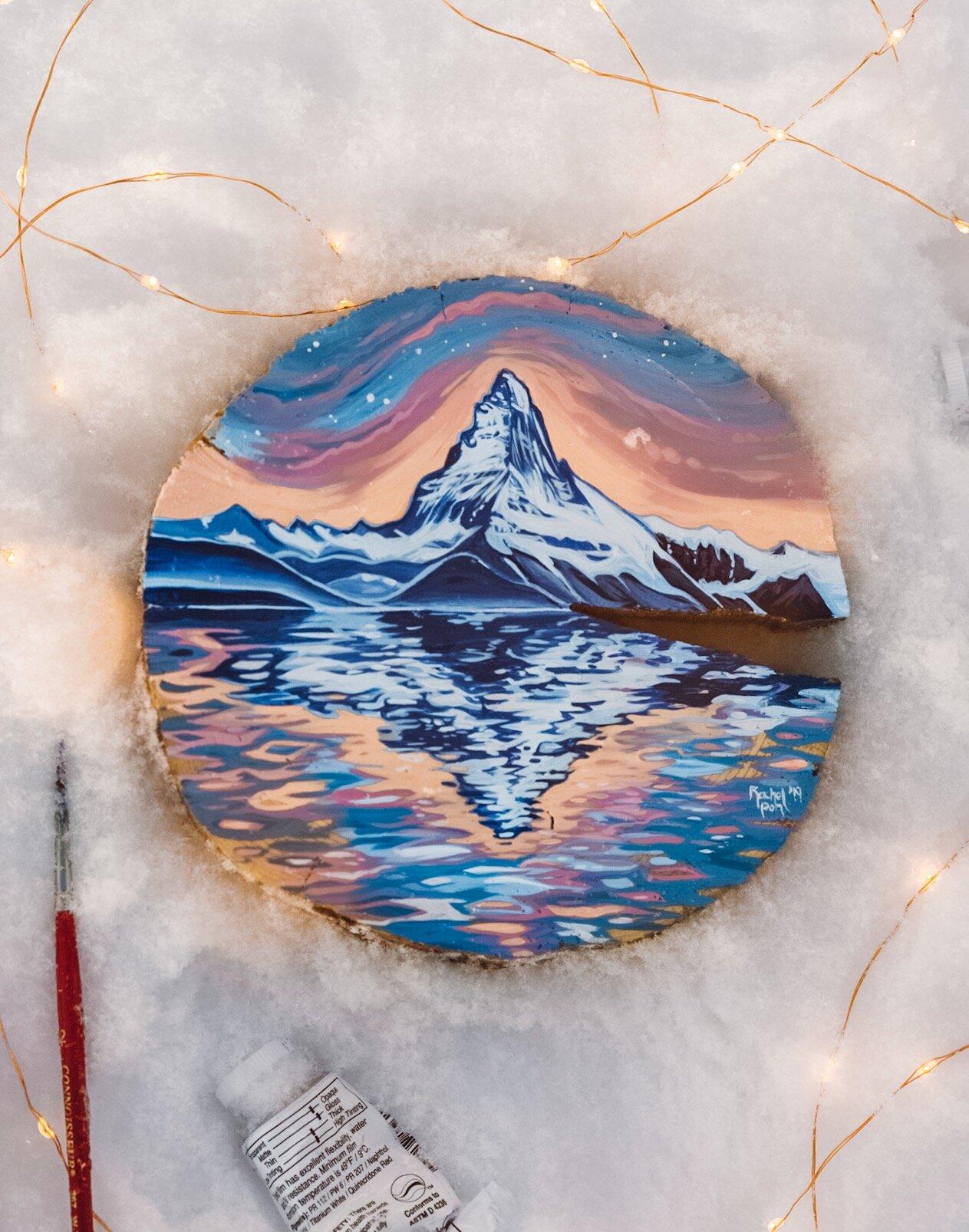 Matterhorn On Wood Round 6 5x6 5 Original Painting Rachel Pohl Art