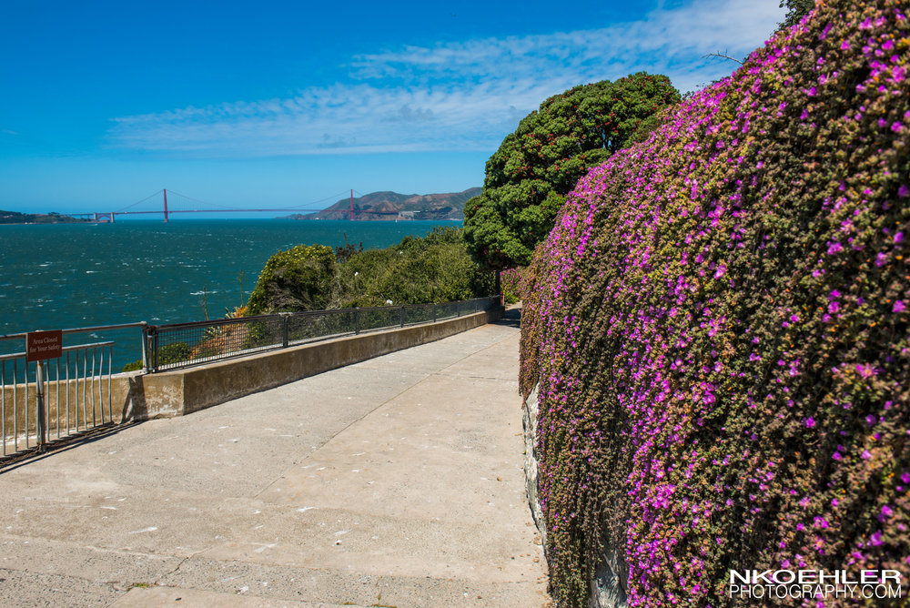 An outside view of the Golden Gate Bridge from Alcatraz Island.