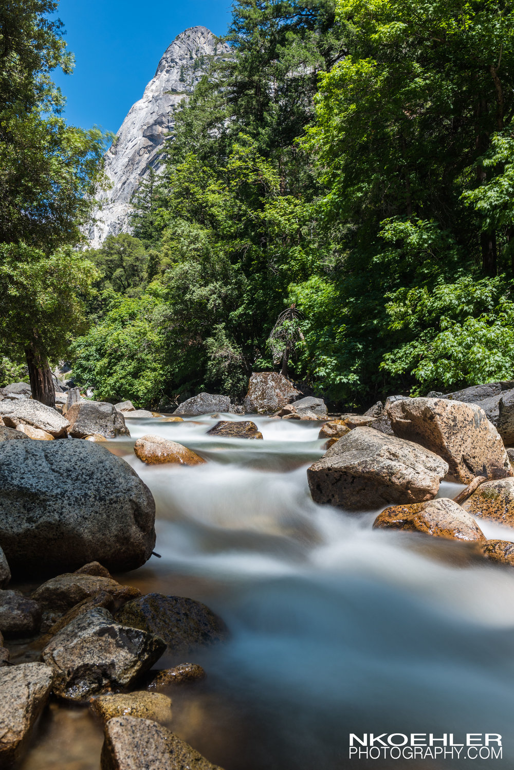 River running below in the Yosemite Valley.