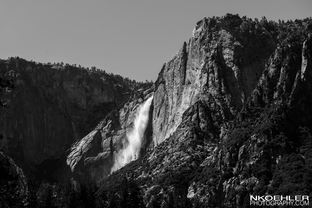 Yosemite falls from the perspective of the Yosemite Valley.