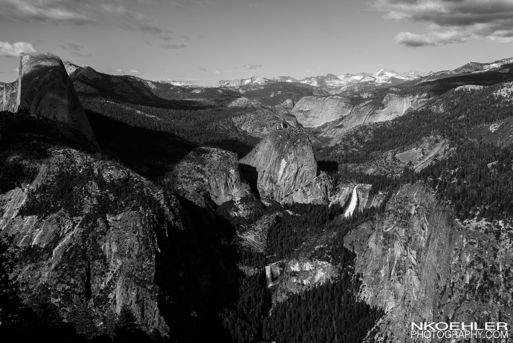 View from Glacier Point right before sunset.