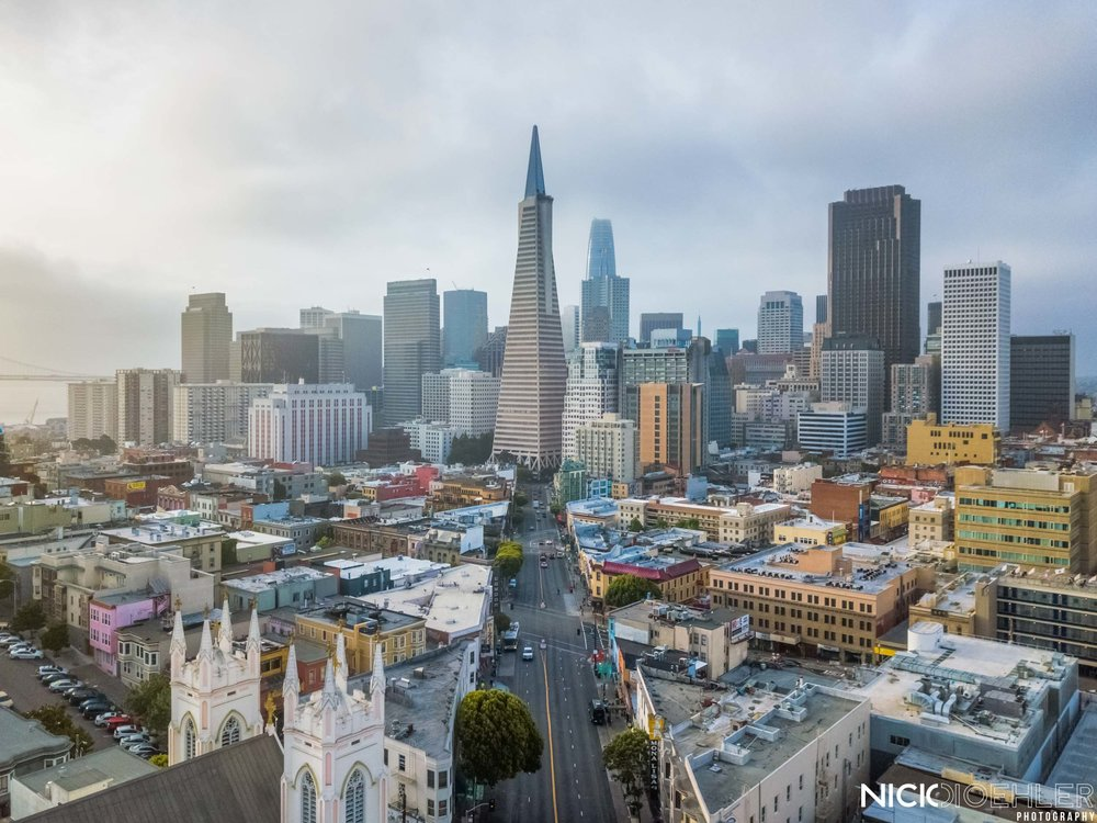 San Francisco: The Transamerica Tower leading the way for downtown.