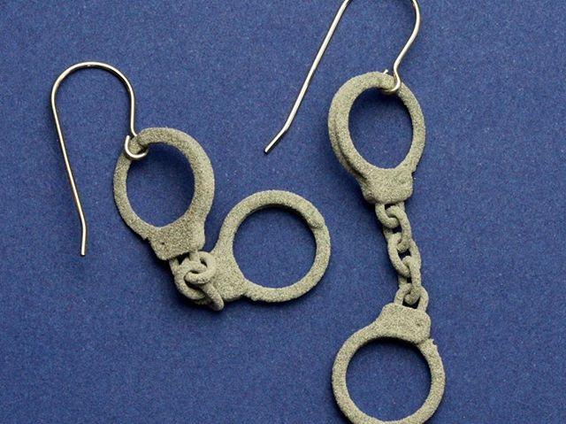 Fashion Felony! #thinblueline #police #boysinblue #badboys #cops #3dprinted #Etsy https://www.etsy.com/listing/537272605/3d-printed-handcuff-earrings #lockedup #womencops #copwife #handcuffs #handcuffed #funearrings