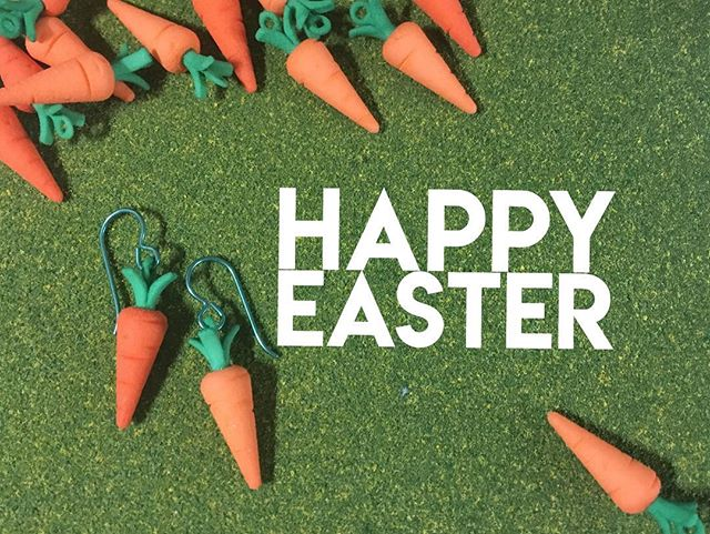 Happy Easter from Layers By Design! 🐣 Grab some miniature carrot #earrings for the Easter Bunny 🥕 Available at our #etsystore.  Have an 'egg'cellent day! 🥚#easter2018 #3dprinting #miniatures