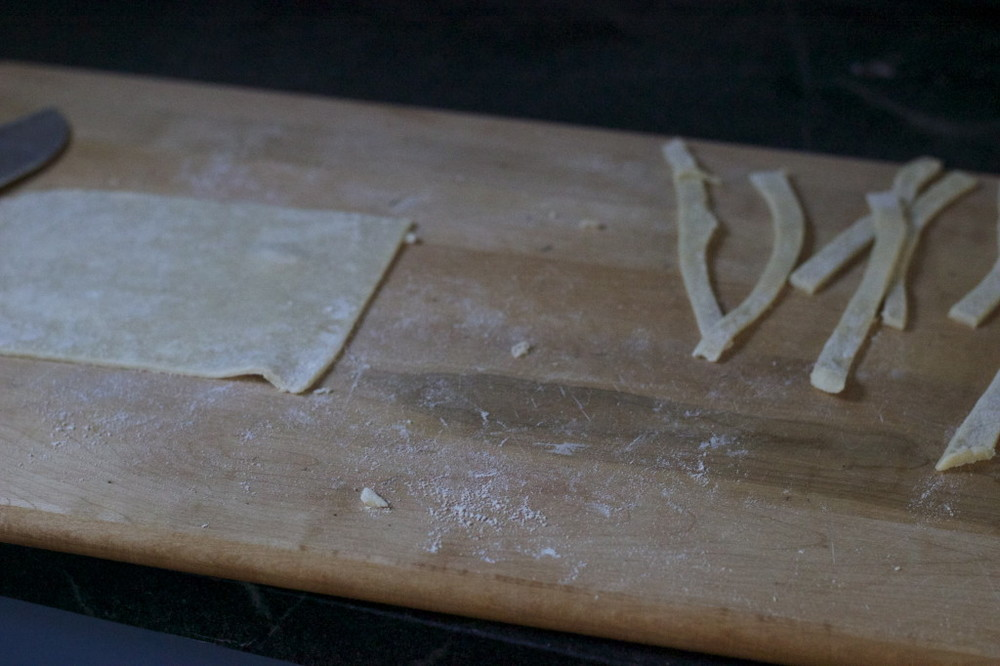 cut out strips of dough for a lattice top
