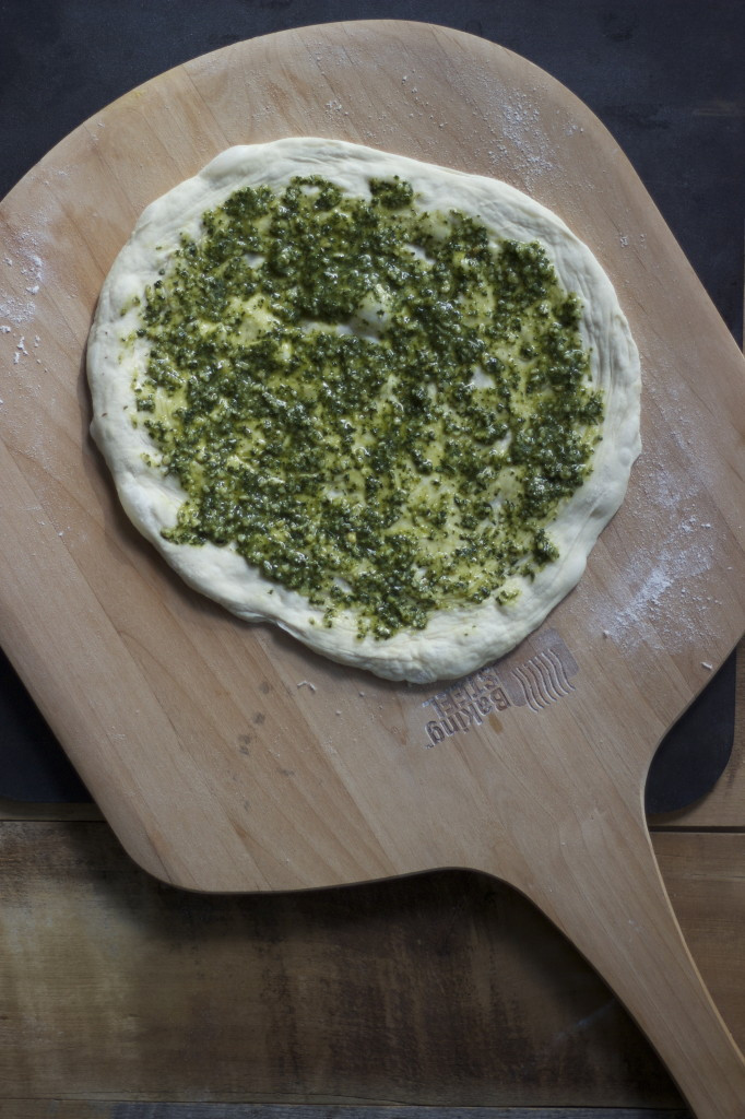 pesto and no knead dough ready to launch