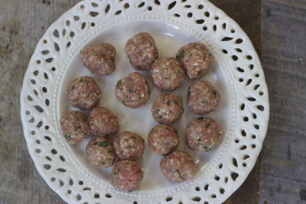 tiny meatballs ready to fry