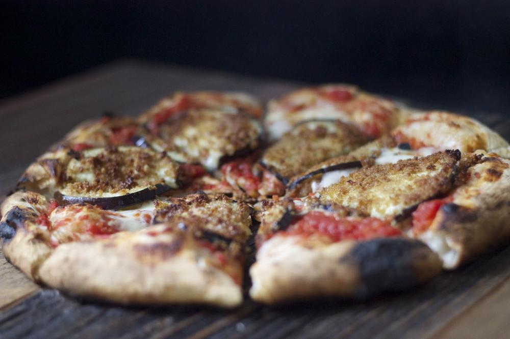 crispy eggplant pizza