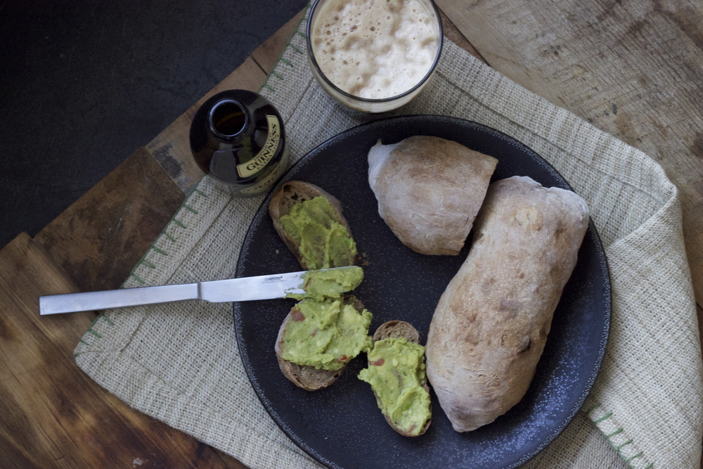 Guinness Ciabatta with an avocado spread