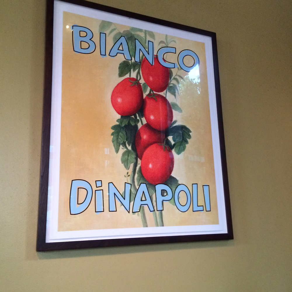 You may recognize this beautiful painting.  Chef's Bianco's dad created this photo and is on every can of Bianco DiNapoli tomatoes. Get some.