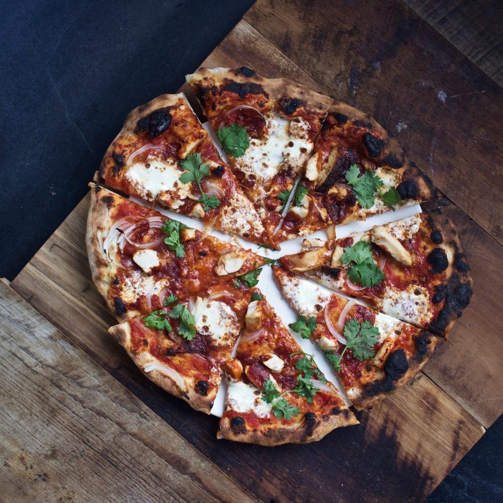 Sliced BBQ Chicken Pizza with Stubbs