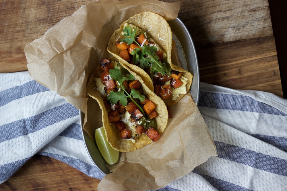 Sweet potato and chorizo taco